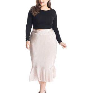 Plus Size Blush Hourglass Mermaid Midi Skirt